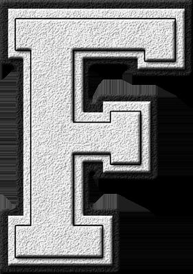 Presentation Alphabets White Varsity Letter F