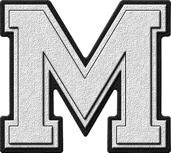 the letter m presentation alphabets white varsity letter m 25175 | M 300
