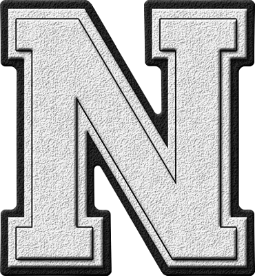 Presentation Alphabets White Varsity Letter N
