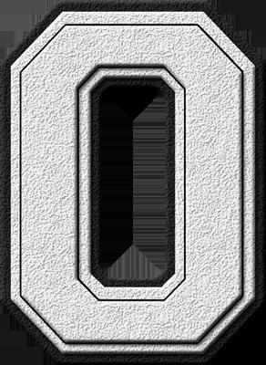 Presentation Alphabets White Varsity Letter O