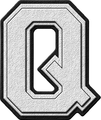 Presentation Alphabets White Varsity Letter Q