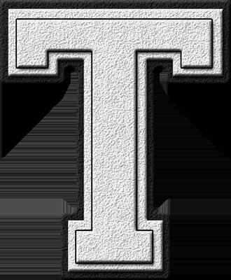 Presentation Alphabets: White Varsity Letter T