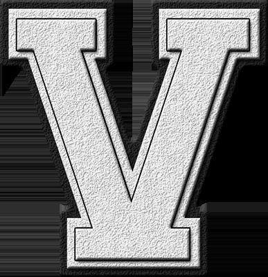 Presentation Alphabets: White Varsity Letter V