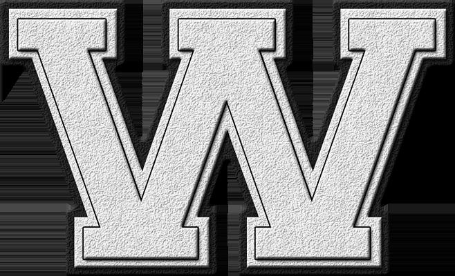 Presentation Alphabet Set: White Varsity Letter W