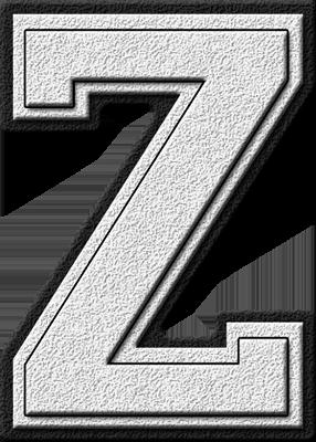 Presentation Alphabets White Varsity Letter Z