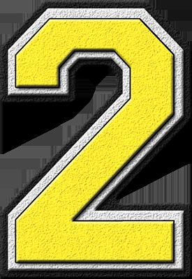 Presentation Alphabets Yellow Varsity Numeral 2