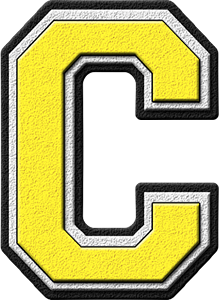 Presentation Alphabets Yellow Varsity Letter C