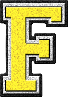Presentation Alphabets: Yellow Varsity Letter F