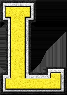 L Alphabet Letter Presentation Alphabets: Yellow Varsity Letter L