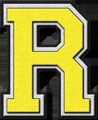 R Alphabet Letter Presentation Alphabets: Yellow Varsity Letter R