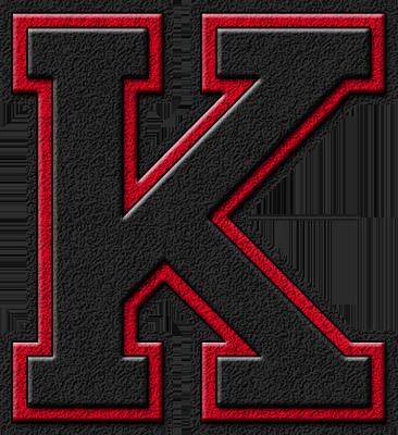 Presentation Alphabets: Black & Cardinal Red Varsity Letter K