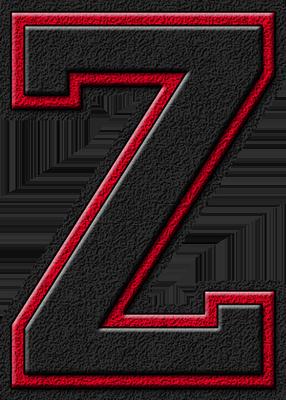 Z Alphabet Letter Presentation Alphabets: Black & Cardinal Red Varsity Letter Z