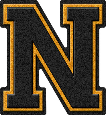 Presentation Alphabet Set: Black & Gold Varsity Letter N