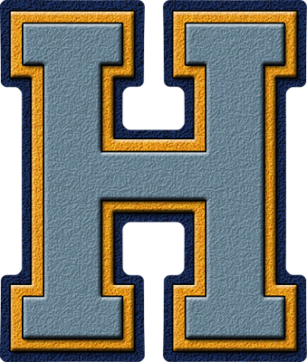 Presentation Alphabet Set Columbia Blue Gold Navy Varsity Letter H