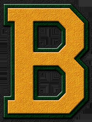 Presentation alphabets gold forest green varsity letter b for B b com