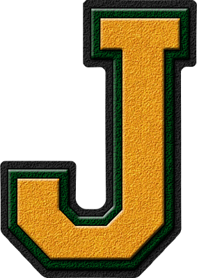 Presentation Alphabets: Gold & Forest Green Varsity Letter J