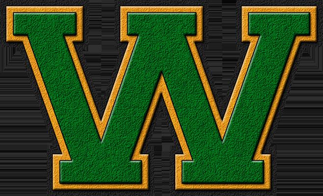 Presentation Alphabets: Green & Gold Varsity Letter W