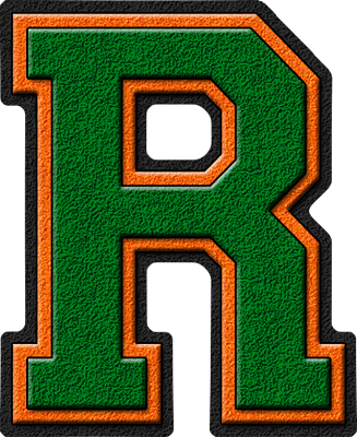 The Letter R In Green Orange varsity letter rThe Letter R In Orange