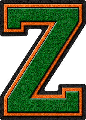 ... etc home alphabets varsity letters green orange letter z site