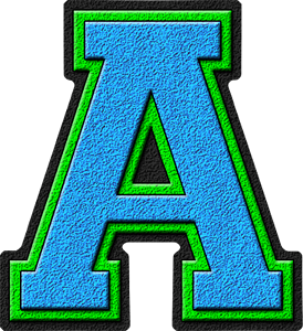 Presentation Alphabets Light Blue Amp Kelly Green Varsity