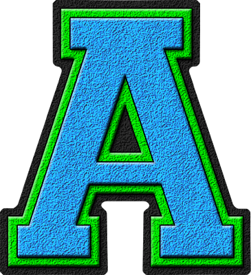 Presentation Alphabets Light Blue & Kelly Green Varsity Letter A