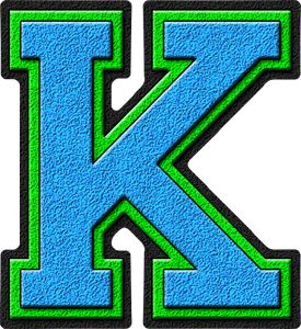 K Alphabet Letter Presentation Alphabets: Light Blue & Kelly Green Varsity Letter K