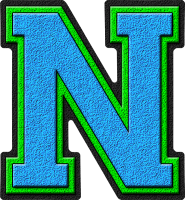 N Alphabet Letter Presentation Alphabets: Light Blue & Kelly Green Varsity Letter N