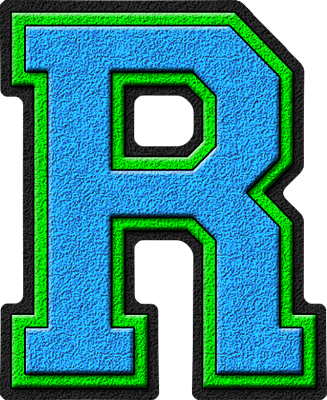 presentation alphabets light blue kelly green varsity letter r