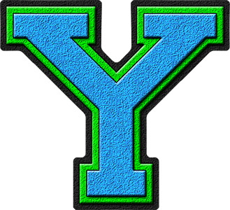 Y Alphabet Letter Presentation Alphabets: Light Blue & Kelly Green Varsity Letter Y