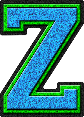 Presentation Alphabet Set: Light Blue & Kelly Green Varsity Letter Z