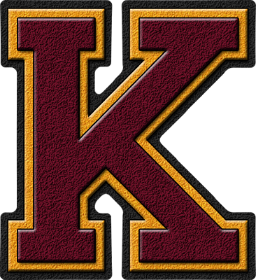 presentation alphabets maroon amp gold varsity letter k