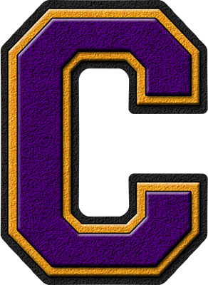 Presentation Alphabets: Purple & Gold Varsity Letter C