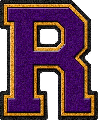 Presentation Alphabets: Purple & Gold Varsity Letter R