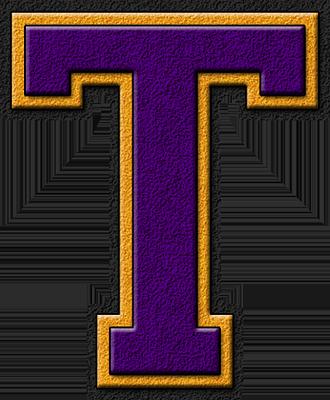 Presentation Alphabet Set: Purple & Gold Varsity Letter T