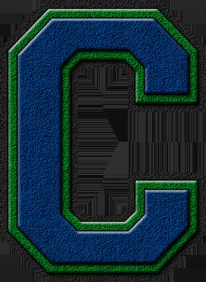 Presentation Alphabets: Royal Blue & Green Varsity Letter C