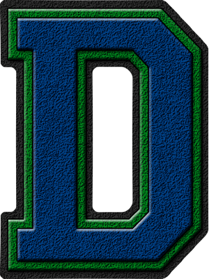 Presentation Alphabets: Royal Blue & Green Varsity Letter D