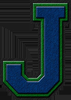 Presentation Alphabets: Royal Blue & Green Varsity Letter J