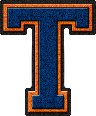 ETC U003e Presentations ETC Home U003e Alphabets U003e Varsity Letters U003e Royal Blue U0026  Orange U003e Letter T