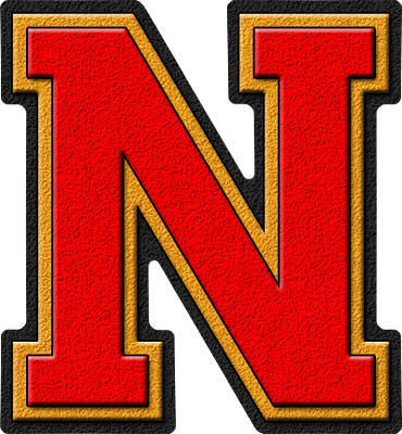 Presentation Alphabet Set: Scarlet Red & Gold Varsity Letter N