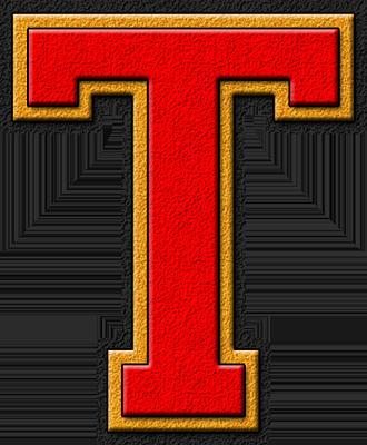 Presentation Alphabet Set: Scarlet Red & Gold Varsity Letter T