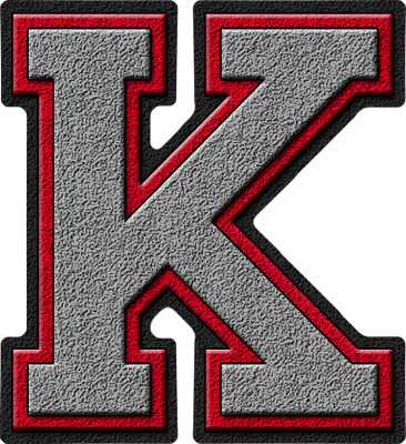K Alphabet Letter Presentation Alphabets: Silver & Red Varsity Letter K
