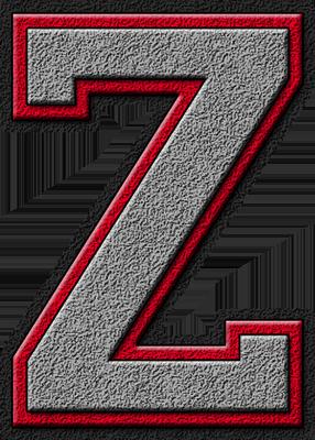 Z Alphabet Letter Presentation Alphabets: Silver & Red Varsity Letter Z