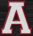 Presentation Alphabets: White & Cardinal Red Varsity Letter A