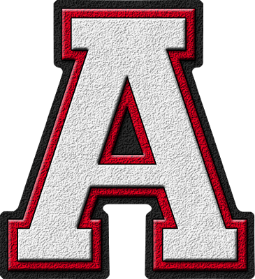 Etc Presentations Etc Home Alphabets Varsity Letters White Cardinal Red Letter A
