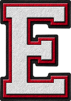 presentation alphabets white cardinal red varsity letter e With varsity letter e