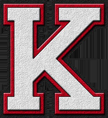 K Alphabet Letter Presentation Alphabets: White & Cardinal Red Varsity Letter K