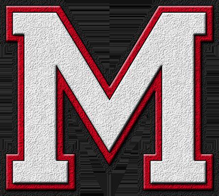 Presentation Alphabets White Cardinal Red Varsity Letter M