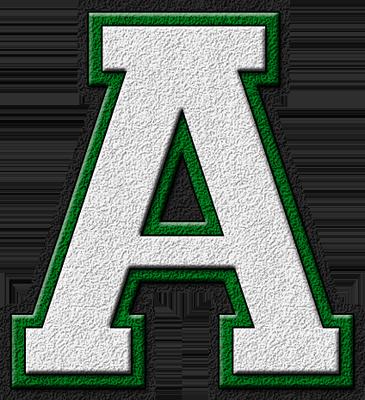 Presentation Alphabets: White & Green Varsity Letter A
