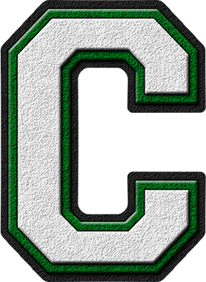 Presentation Alphabets: White & Green Varsity Letter C