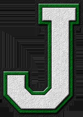 Presentation Alphabets: White & Green Varsity Letter J